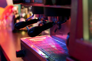 The coffee machine in the restaurant, close-up.
