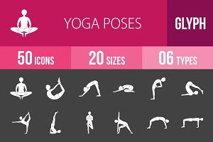 50 Yoga Poses Glyph Inverted Icons