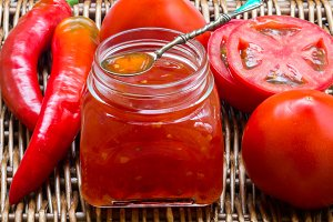 Spicy sauce of tomatoes and pepper
