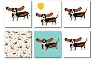Dog Basset Hound + seamless pattern