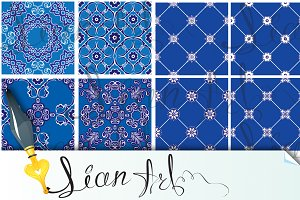 blue and white ceramic tiles