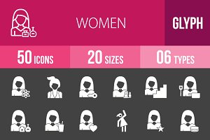 50 Women Glyph Inverted Icons