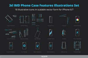 3d IMD Case Feature Icons for iPhone