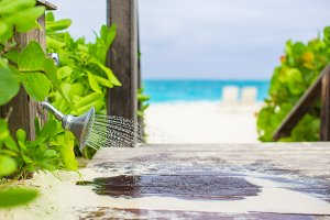 Outdoor beach shower with water