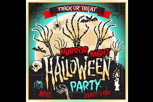 Halloween Zombie Party vector poster