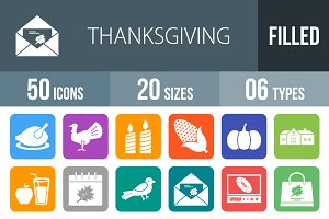 50 Thanksgiving Round Corner Icons