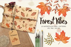 Forest Vibes. Watercolor Set