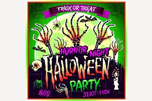 Halloween party horror night poster