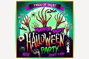 Halloween party horror night vector