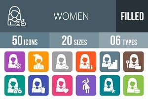 50 Women Flat Round Corner Icons