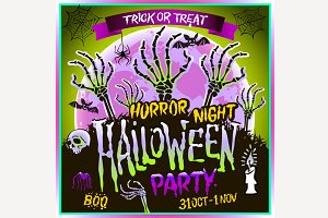 Halloween party horror night vector