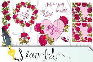Floral frame and seamless pattern