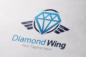 Diamond Wings Logo Vector