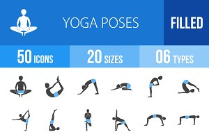 50 Yoga Poses Blue & Black Icons
