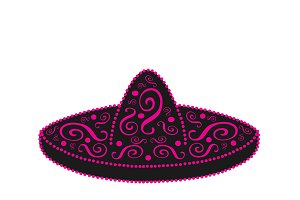 Sombrero, Mexican hat ornament pink