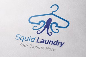 Squid Laundry Logo Template