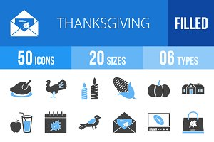50 Thanksgiving Blue & Black Icons