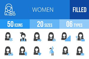 50 Women Blue & Black Icons
