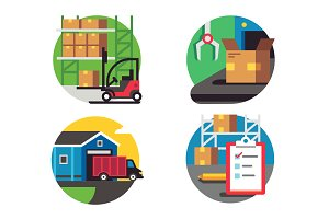 Icons warehouse and logistic