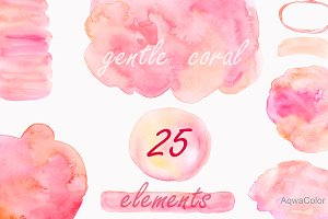 Watercolor clipart splashes Coral