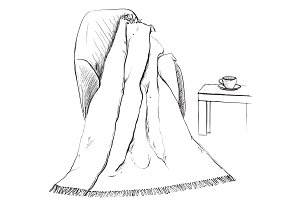 Hand drawn blanket sketch.