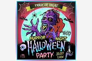 Zombie full moon halloween party art