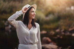 Portrait of pretty woman smiling