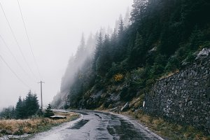 Rainy mountain road