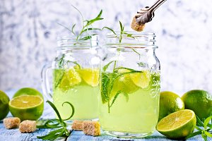 Drink of lime and tarragon