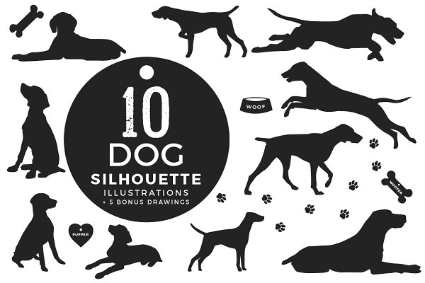 10 Dog Illustrations + Bonus
