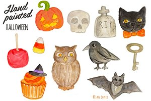 Watercolor Halloween Icons handmade
