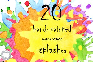 Splashes watercolor clipart