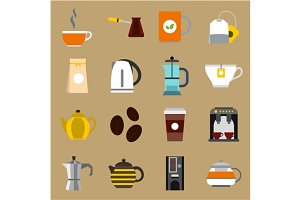 Tea and coffee icons set, flat style