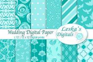 Wedding Digital Paper Something Blue