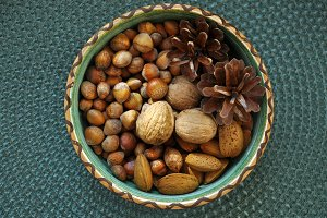 nuts in ceramic bowl