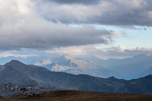 Panorama of mountains in twilight
