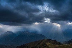 Heavy rain over mountains.