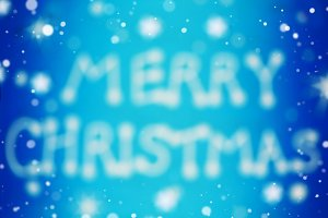 Blue Merry christmas blurred card