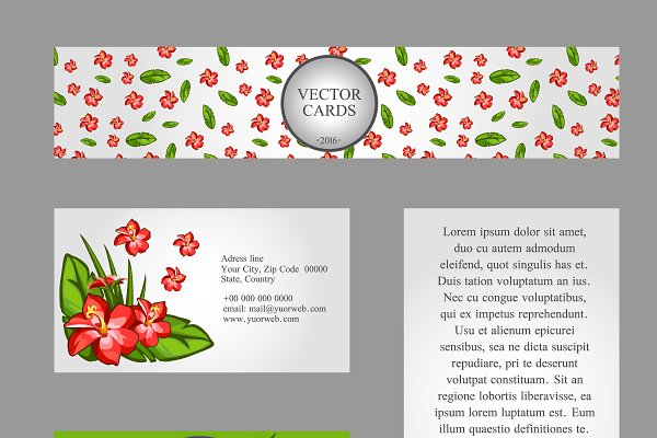 Сards with lilies and sample text