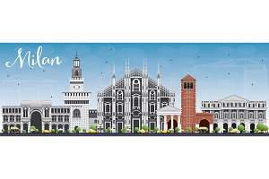 Milan Skyline with Gray Landmarks