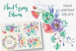 Watercolor sprays of spring blooms