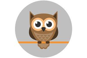 Owl icon flat