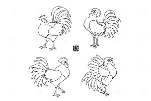 Roosters line art