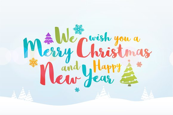 Merry Christmas greeting card. ~ Illustrations ~ Creative Market