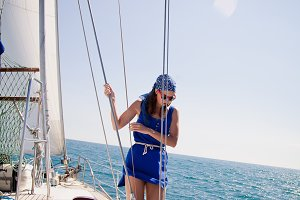 young girl on the white yacht