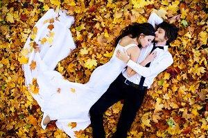 wedding couple lying