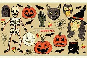 Vintage Style Halloween Clip Art