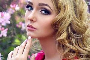portrait of a young girl blondes with make-up