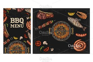 MENU Barbecue grill top view