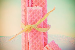 Pink Wafer Cookies With Raffia